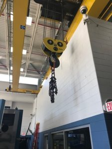 crane located in modular in plant office